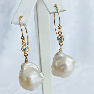 Baroque freshwater pearl, gold and cubic zirconia earrings
