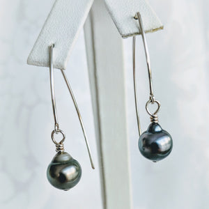 Sterling silver Marquise earwire with Tahitian pearl