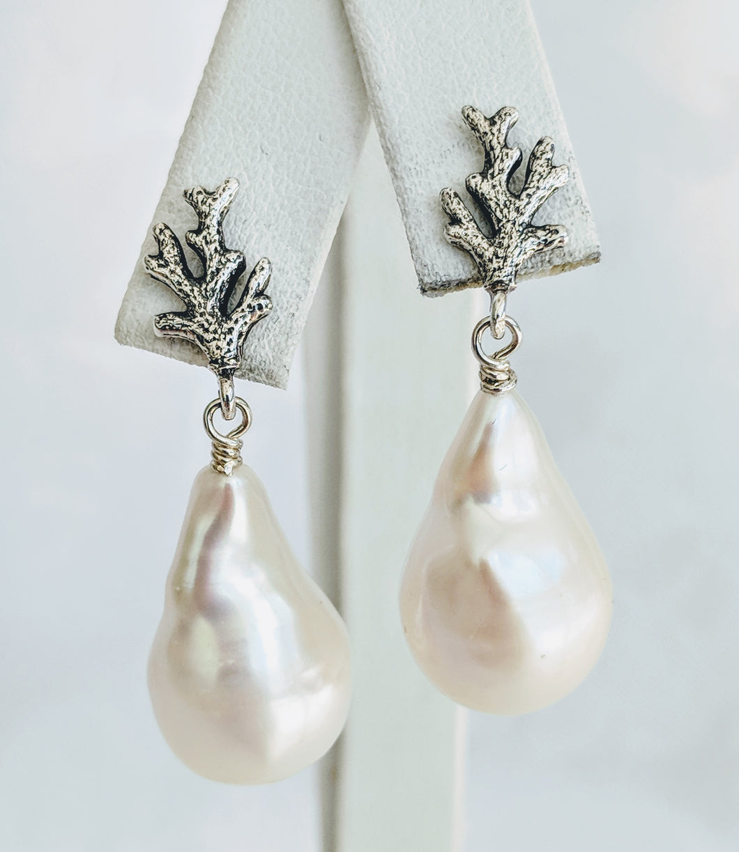 Baroque freshwater pearl earrings with Sterling silver coral branch detail