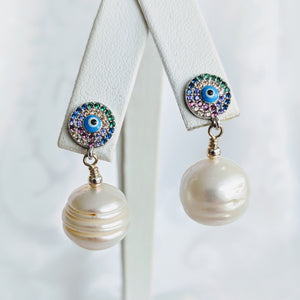 Ringed Baroque pearl with CZ evil eye post