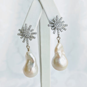 Baroque freshwater pearl earrings with silver/cubic zirconia starburst