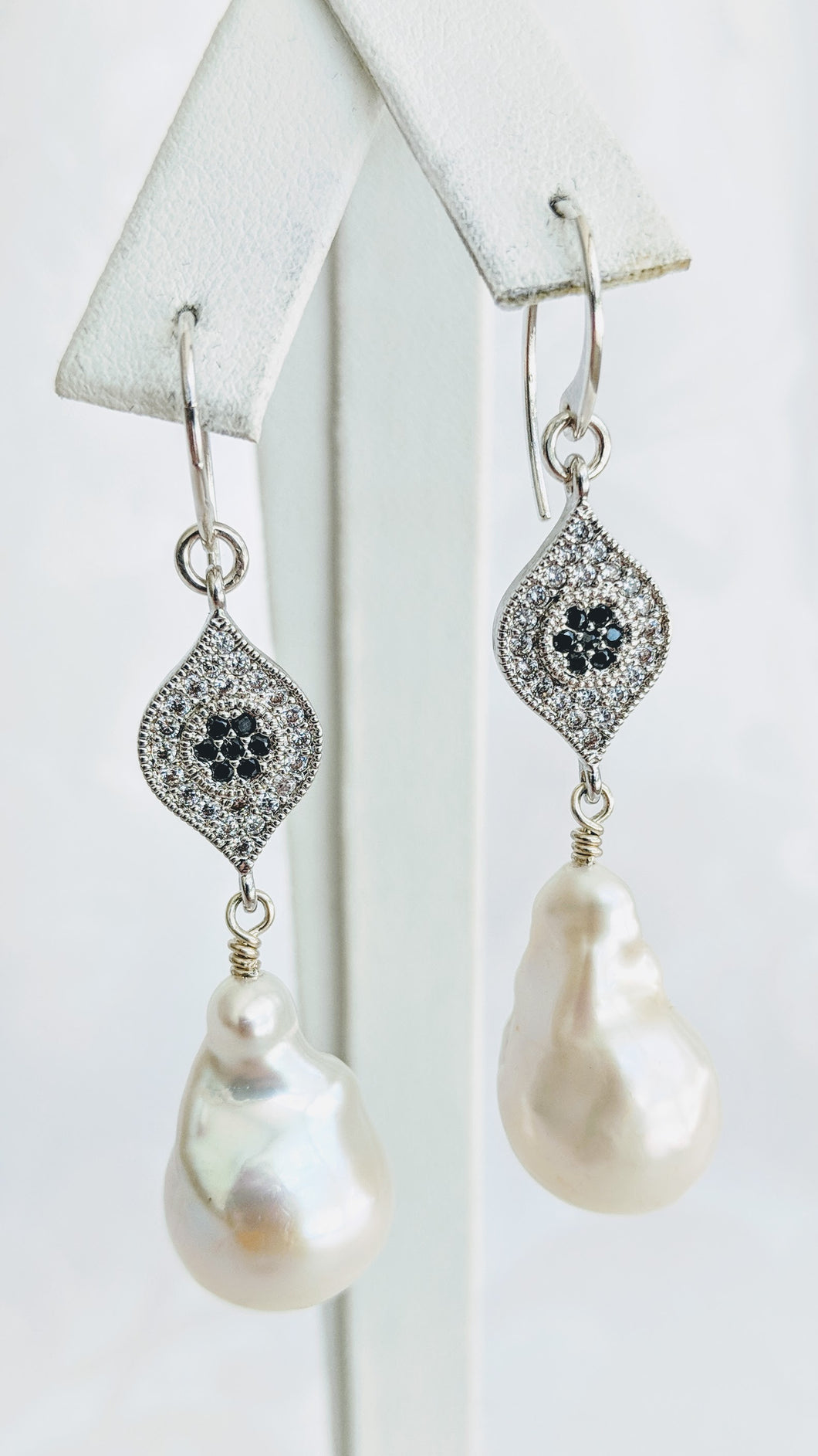 Baroque freshwater pearl earrings with silver/cubic zirconia detail