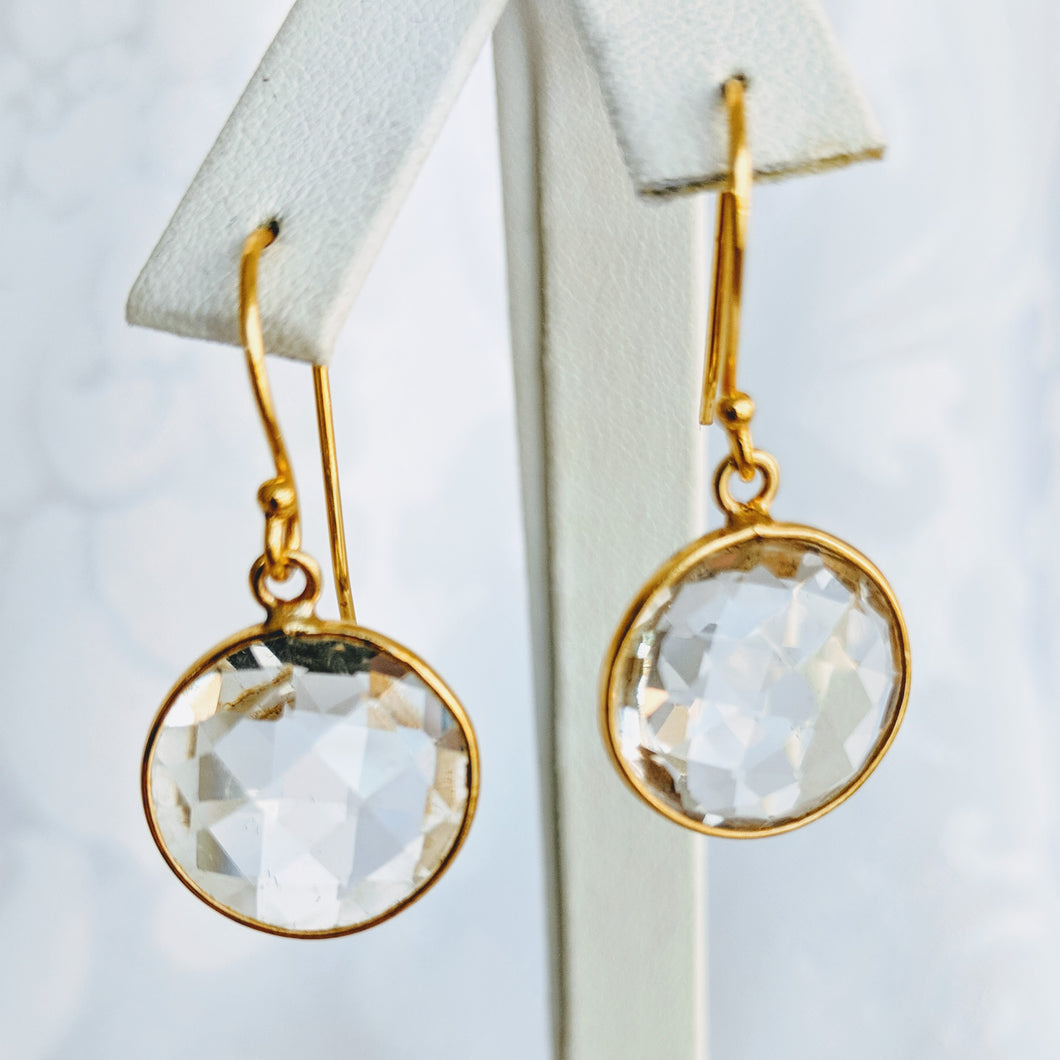 Gold vermeil, round, faceted quartz earrings (see other colors)