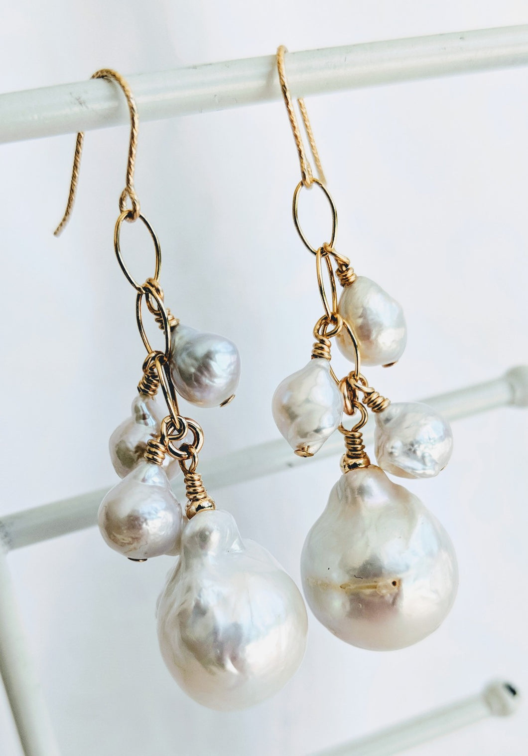 Anais - Freshwater pearl waterfall earrings