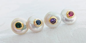 Coin pearl post earrings with inset cubic zirconia