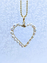 "Load image into Gallery viewer, Pearl heart pendant with 36"" gold vermeil 3mm ball chain"