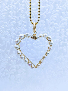 "Pearl heart pendant with 36"" gold vermeil 3mm ball chain"