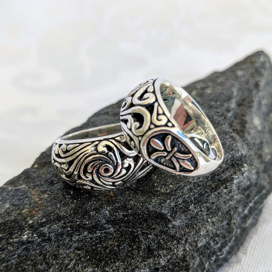 Sterling silver filagree ring