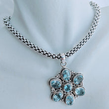 Load image into Gallery viewer, Blue Topaz and Sterling silver pendant