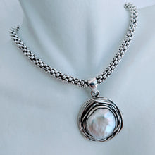 "Load image into Gallery viewer, Sterling silver ""nest"" pendant with large pearl"