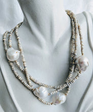 Load image into Gallery viewer, Extra long Silverite necklace with small and large Baroque pearls