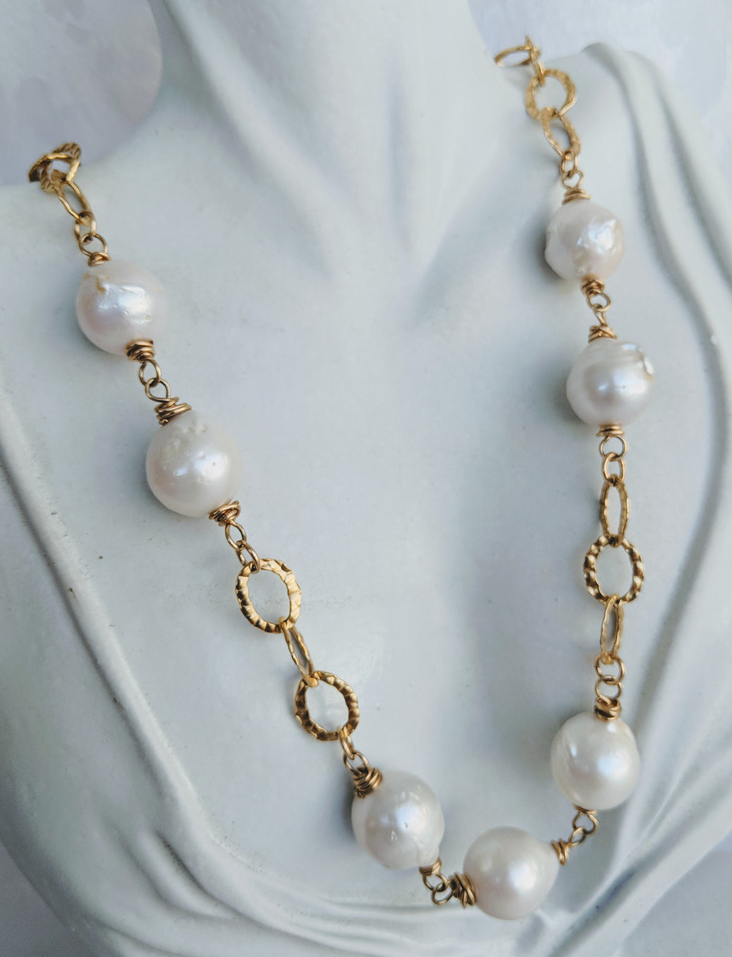 Hammered gold link and pearl necklace