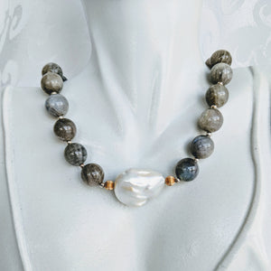 Labradorite and Baroque pearl