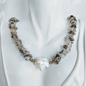 Herkimer diamond quartz necklace with large Baroque pearl