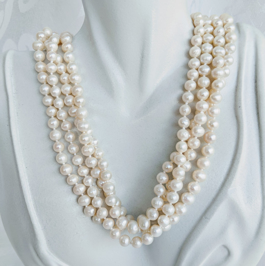Long cultured freshwater pearl (5mm x 6mm) necklace
