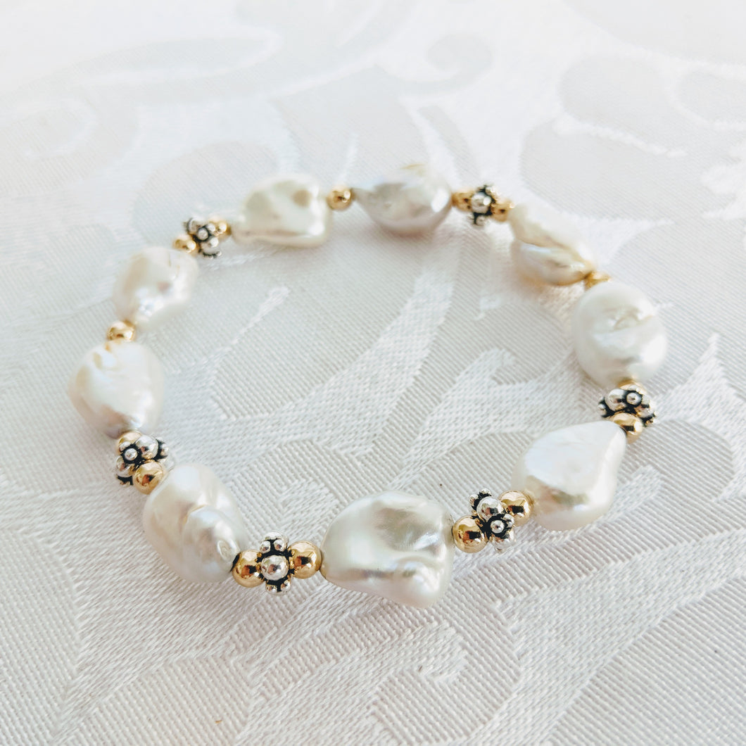 Keshi pearl w/14k gf and silver accent