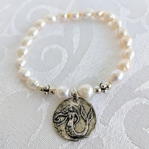 Baby Baroque Pearl bracelet with Pewter Mermaid charm