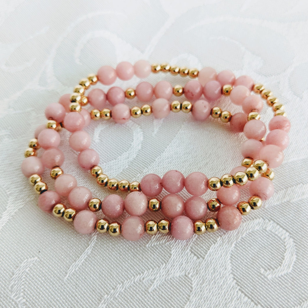 Pink jade and gold bracelet set