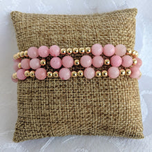 Load image into Gallery viewer, Pink jade and gold bracelet set