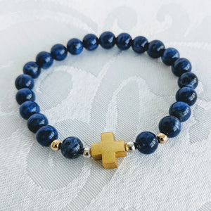 Blue sodalite bracelet w/gold vermeil cross