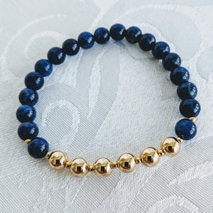 Blue sodalite bracelet with 14k gold fill accent