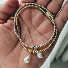 Load image into Gallery viewer, Tiny sterling gold balls with pearl charm