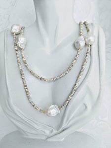 Extra long Silverite necklace with small and large Baroque pearls