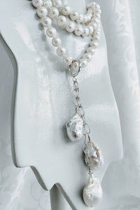 Extra large & long Baroque pearl enhancer on Sterling silver chain