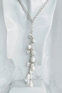 Sterling silver pearl open lariat