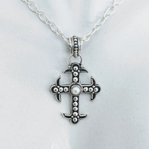 Sterling silver cross w/pearl focal point