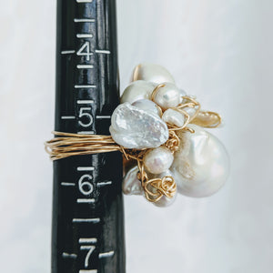 Cultured Baroque pearl hand wrapped 14k gold fill wire ring
