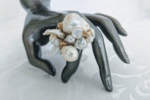 Load image into Gallery viewer, Cultured Baroque hand wrapped 14k gf wire ring