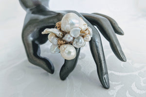Cultured Baroque hand wrapped 14k gf wire ring