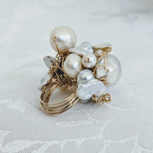 Load image into Gallery viewer, Cultured Baroque pearl hand wrapped 14k gold fill wire ring