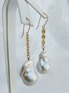 Baroque freshwater pearl and circle link earrings