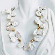 Load image into Gallery viewer, Keshi pearl and gold ball necklace