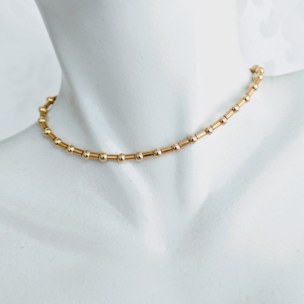 Simple & Elegant, 14k gf beaded necklace