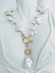Keshi pearl and gold ball necklace
