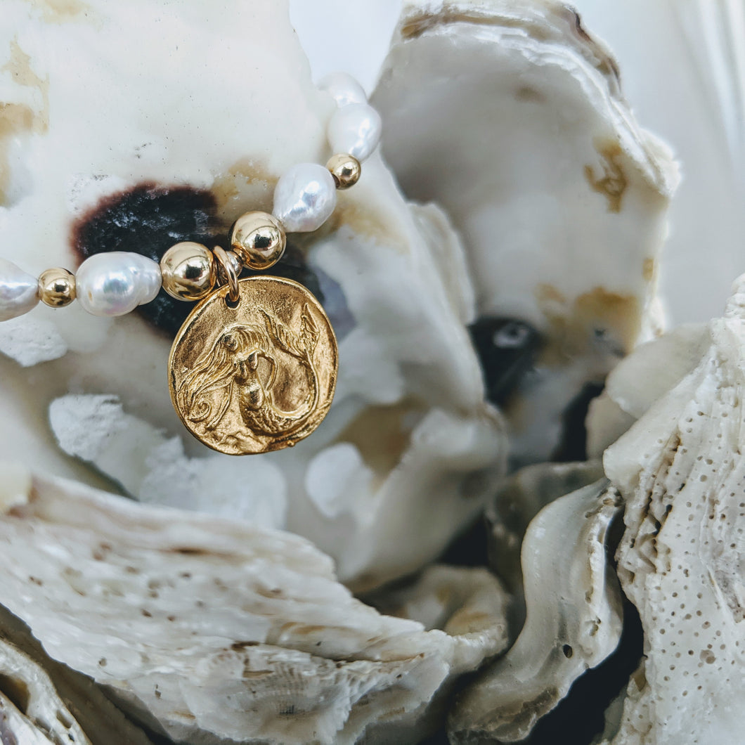 Baby Baroque pearl bracelet with gold plate pewter mermaid charm