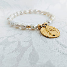 Load image into Gallery viewer, Baby Baroque pearl bracelet with gold plate pewter mermaid charm