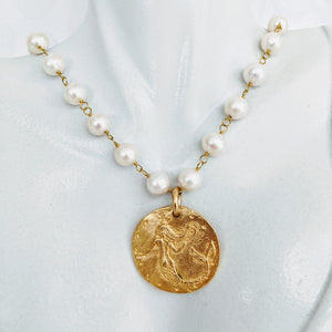 Pearl chain necklace with gold plate pewter mermaid pendant