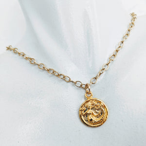 Gold chain necklace with gold plate mermaid pendant