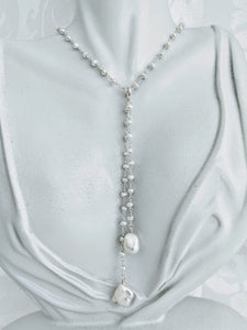 Pearl chain necklace with detachable tassel