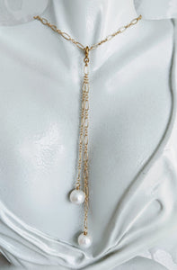 Long and short 14k gold fill necklace with detachable tassel