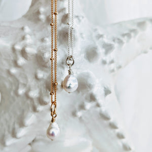 """Tess"" ~ sweet petite necklace with detachable pearl pendant"
