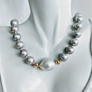 """Lauren"" silver pearl and Baroque pearl necklace"