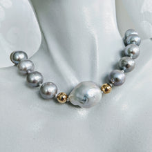 "Load image into Gallery viewer, ""Lauren"" silver pearl and Baroque pearl necklace"