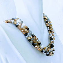Load image into Gallery viewer, Pearl Station Sparkle triple wrap bracelet / necklace (see all photos)
