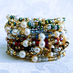 Pearl Station Sparkle triple wrap bracelet / necklace (see all photos)