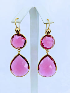 Double faceted earrings (shown Ruby Color Hydro Quartz)